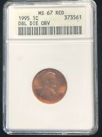 1995 Double Die Obverse MS 67 RD ANACS Lincoln Cent Penny 1C Error Old Holder