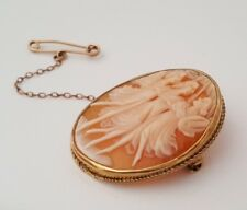 9k solid gold carved shell cameo brooch 7.71g