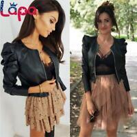 LAPA Womens Casual Faux Leather Jacket Zip Puff Sleeve Biker Coat Outwears Tops