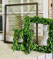 12 Inch Green Square Decorative Preserved Boxwood Decor Wreath 76359