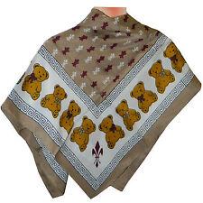 Halstuch Teddybären Lilien Muster hellbraun 86x86cm bedruckt Viskose Kopftuch