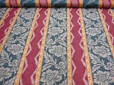 6mt Rojo verde & Mandarina raya tejido tela para cortinas tapicería material