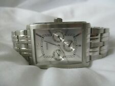 Guess Watch Silver Toned Stainless Steel Rectangular Face Elegant Style WORKING!