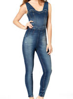 $ GUESS NEW Women's Guess Nada Denim fitted Cedar Indigo Jumpsuit & Rompers SZ S