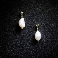 Boucles d'oreilles Clous Doré Perle Culture Blanc Baroque Goutte Plaque Or TZ4