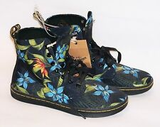 NWT Doc Martin Hackney Air Wair Black Blue Tropical Floral Canvas Ankle Boots 6