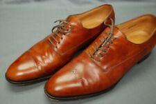 JOHN LOBB men's plain toe shoes burnished tan w/medallion UK 10 E / US 11.5 D
