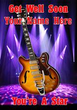 Semi Acoustic Guitar cptmi49 Get well soon card a5 Personalised Greetings