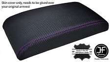 PURPLE STITCH FITS ALFA ROMEO 147 ARMREST LID COVER CARBON FIBER VINYL