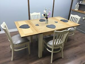 Oak EXTENDABLE TABLE 4/6 Seater Farmhouse Shabby Chic Upholstered Chairs NEW