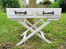 Handmade Wooden Whitewash Butlers Tray Table Plant Flower Pot Herb Holder