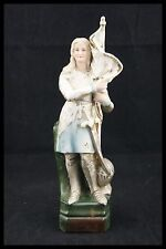† SAINT JOAN OF ARC BISQUE PORCELAIN STATUE HAND PAINTED MAID ORLEANS FRANCE †