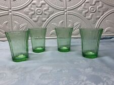 "Depression Glass - Green Cherry Blossom 3-1/2"" Tumblers"