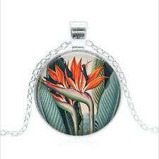 Vintage Bird of Paradise Tibet silver Glass dome Necklace chain Pendant Wholesal