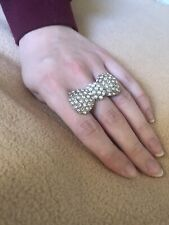 Miss Selfridge Bow Shaped Ring Pearl Diamond Effect. Costume Jewellery Large