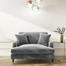 Silver Grey Velvet Loveseat Seater Sofa Lounge Couch & 2 Cushions