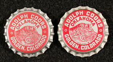 2 COORS BEER TABLE MOUNTAIN •OKLAHOMA TAX• PLASTIC BOTTLE CAP GOLDEN COLORADO OK