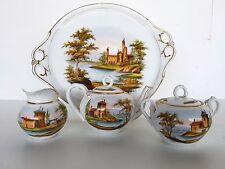 Biedermeier-Dejeuner Teeservice aufwendig bemalt mit Landschafts Szenen um 1840