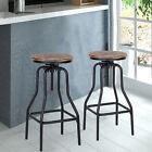 2Pcs Industrial Metal Bar Stool Adjust Height Swivel Kitchen Dining Chair W3X8