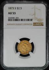 1873-S $2 1/2 LIBERTY HEAD GOLD QUARTER EAGLE, NGC AU53