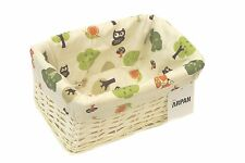 Storage Basket Small White Wicker With Cloth Lining -OwlCloth By Arpan
