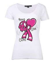 Peace Love Cure (Breast Cancer)  T-Shirt,Geometric ( Women's Size: S,M,L,XL)