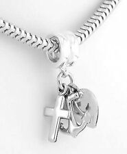 Silver Christian Cross Heart Anker Faith Hope Charity
