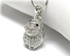 NEW CRYSTAL HIPPO 3D PENDANT NECKLACE WHITE GOLD PLATED