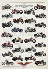 THE HARLEY DAVIDSON LEGEND POSTER motorcycle chart bike riding art print