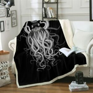 Ghost Scary Octopus Black Grey Sherpa Plush Throw Blanket Fleece Bed Sofa Couch