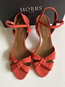 Hobbs Size 6 Eu 39 Poppy Orange Verdi Knot Suede Leather Sandals Shoes New!