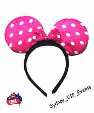 MINNIE MOUSE EARS HEADBAND GIRL PARTY COSTUME BOW FANCY DRESS HOT PINK POLKA DOT