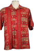 Joe Marlin Men's XL red Hawaiian shirt, short sleeves, tan, gray, fishbones