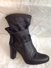 Jones Boot Maker Black Mid Calf Leather Boots Size 39