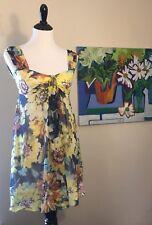 NWT $148 Max Studio Silk Summer Sleeveless Mini Cocktail Dress Floral Lined XS