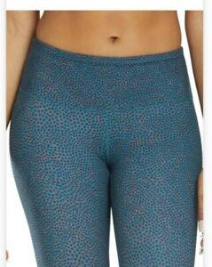 Prana Pillar Printed Legging Women's Size Large Teal marina Fitted Hidden Pocket