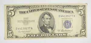 RARE - Crisp 1953-A - Silver Certificate $5 Blue Seal $5 Higher Grade! *145