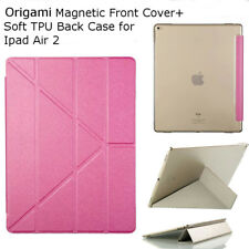 Origami Magnetic Smart Cover Auto Wakeup Soft Transparent TPU Back For IPad Air2