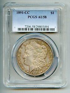 1891 CC Morgan Silver Dollar PCGS AU 58