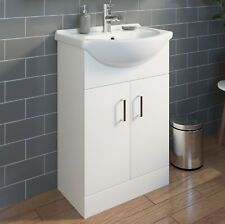 550mm Floorstanding Bathroom Vanity Unit & Basin Sink Gloss White Tap + Waste