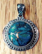 ARTISAN CRAFTED 23.98 CT MOJAVE BLUE TURQUOISE PENDANT IN  STERLING SILVER
