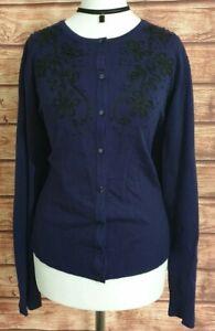Ladies Cardigan Thin Knit Long Sleeved CABLE & GAUGE Navy BLUE/BLACK XL UK-18