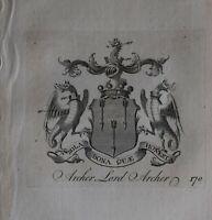1756 Antico Stampa Famiglia Crest Cappotto Di Braccia Lord Archer