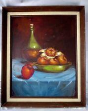 Vintage Mid Century BOTTLE & FRUIT STILL LIFE Oil Painting on Canvas