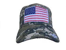 camo digital patriotic hunting fishing baseball cap US flag embroider
