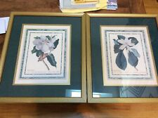 """Pair of Art Prints """"Magnolia"""" By Rand Hort Chelf Framed & Matted 17-1/2 x 20-1/2"""