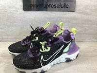 Women's Nike React Vision Running Shoes. Black/Gravity Purple CI7523-002 Size 7