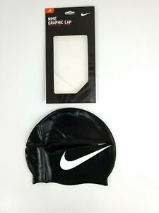 NIKE Big Swoosh Graphic Swim Training Cap [Black/White, ONE SIZE] NEW IN BOX!