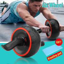 Ab Wheel Roller Abdominal Home Gym Fitness Exercise Core Training Workout W/ Mat