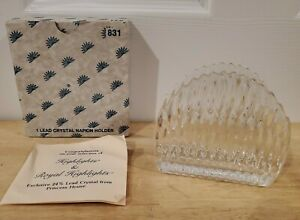 Princess House Royal Highlights 24% Lead Crystal Glass Napkin or Mail Holder NEW